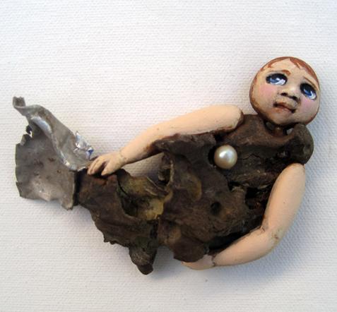Little Mermaid ooak found object art doll