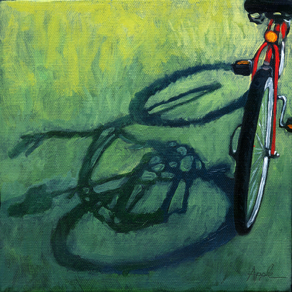 Red & Green - Bicycle shadows oil painting