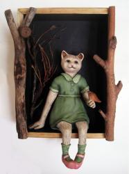 Little Robin Redbreast - ooak art doll sculpture wall hanging