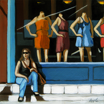 Summer Shopping - woman with Store Windows