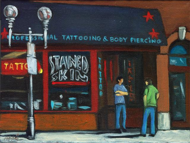 The Tattoo shop - city figurative oil painting