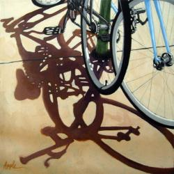 Two Bicycles cycling street biking art realism oil painting