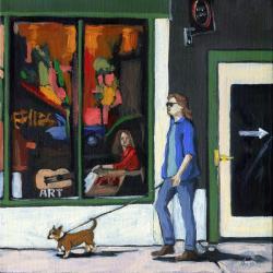 Walking Tall - figurative city street oil painting